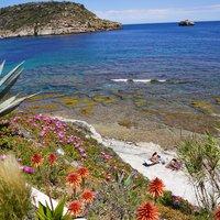 De Spaanse zee met het Portichol eilandje van Javea op de achtergrond